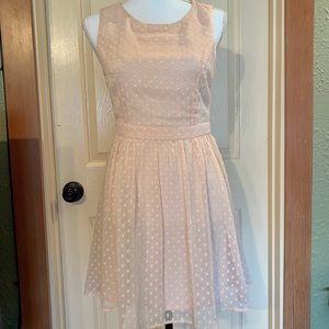 Blush Swiss dot chiffon dress